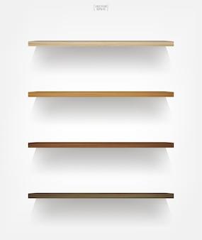 Prateleira de madeira vazia em fundo branco com sombra suave