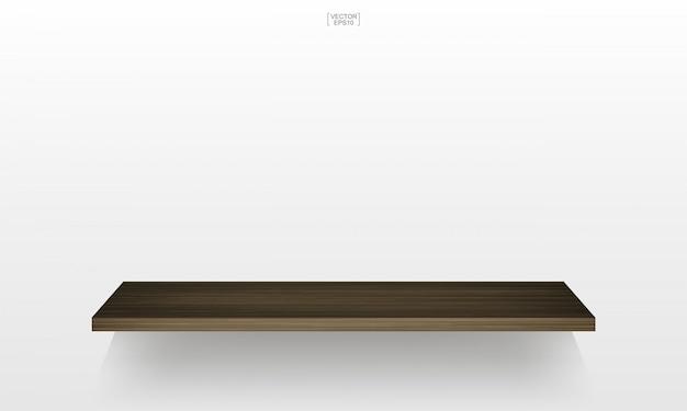 Prateleira de madeira vazia no fundo branco com sombra suave. 3d prateleiras de madeira vazias.