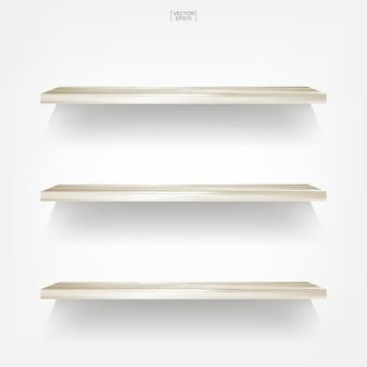 Prateleira de madeira vazia no fundo branco.