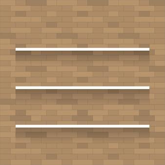 Prateleira de madeira vazia para exposição em fundo de textura de parede de tijolo.