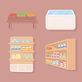 Prateleira de mercearia e geladeira