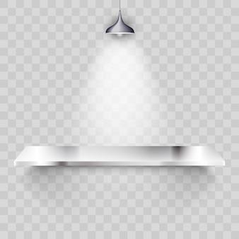 Prateleira de metal com luminária