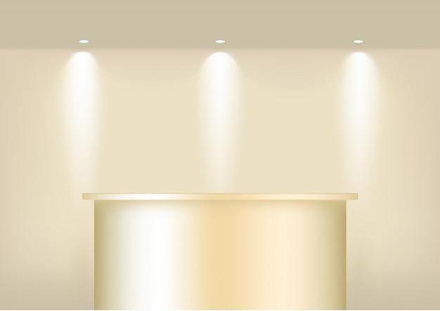 Prateleira de ouro vazia realista para interior para mostrar o produto com holofotes e sombra. pódio