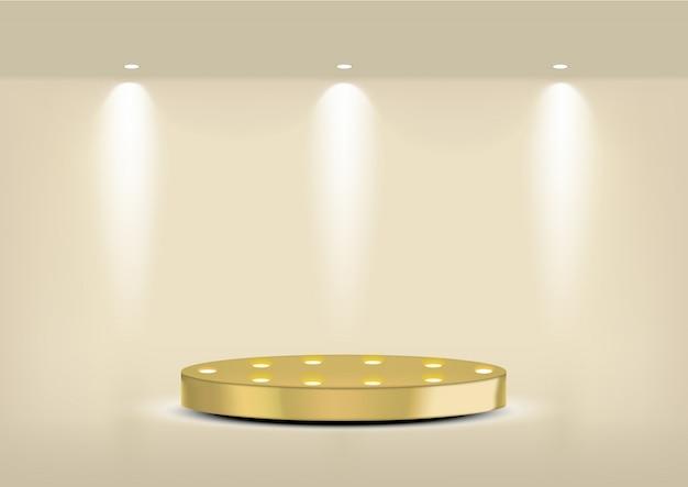 Prateleira de ouro vazia realista para interior para mostrar o produto