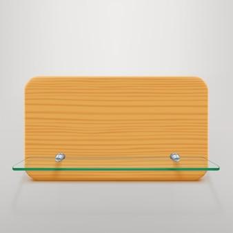 Prateleira de vidro e madeira Vetor Premium