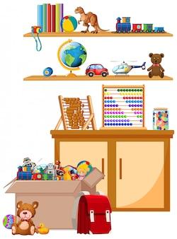 Prateleira e caixa cheia de brinquedos em branco