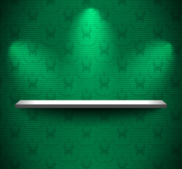 Prateleira na parede verde