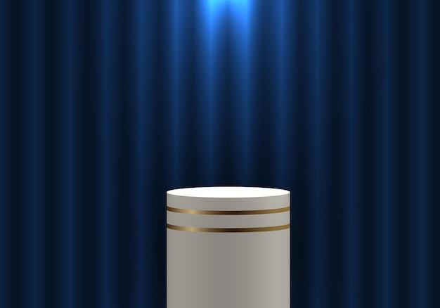 Prateleira para produtos cilíndricos com pedestal dourado e branco realista 3d na cortina azul