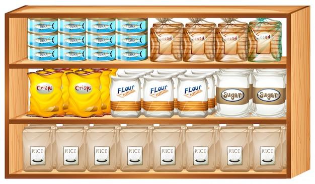 Prateleiras cheias de diferentes tipos de alimentos