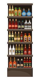 Prateleiras com álcool. bebidas