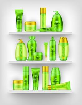Prateleiras com cosméticos 3d design