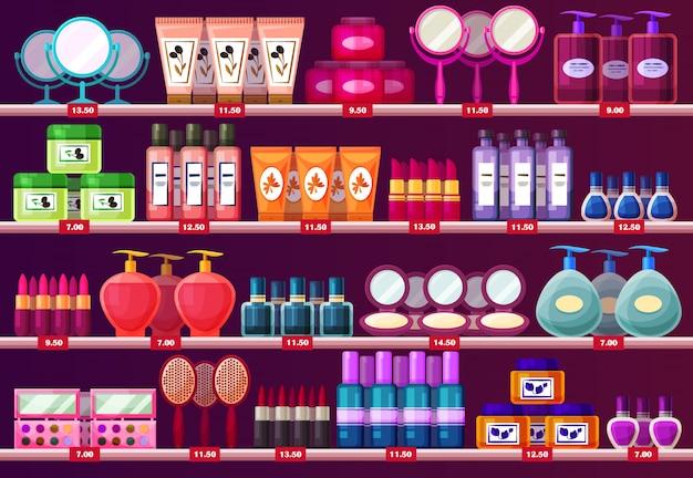 Prateleiras com cosméticos de mulher, vitrine de salão de beleza