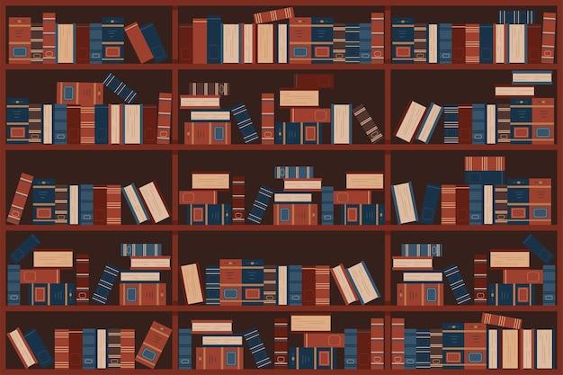 Prateleiras da biblioteca com ilustração de desenhos animados de livros antigos.