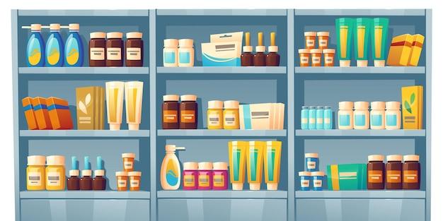 Prateleiras da farmácia com vitrine da drogaria de remédios com frascos de pílulas de vitaminas