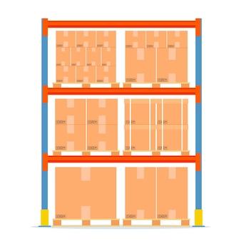 Prateleiras de armazém com caixas. ícone do equipamento de armazenamento.