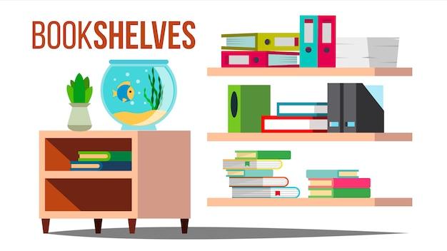 Prateleiras de armazenamento com livros e documentos