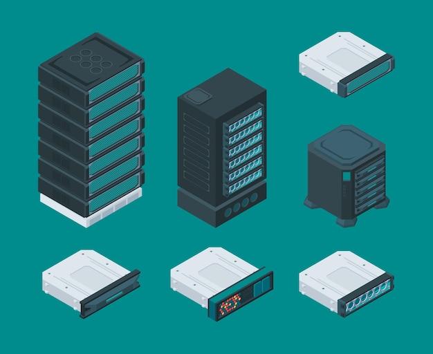 Prateleiras de armazenamento de dados de computador. equipamento de servidor - tecnologia de rede hardware ferramentas roteador vetor conjunto isométrico. dados de armazenamento, computador de unidade de módulo, ilustração de equipamento isométrico de rack