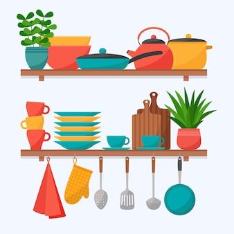 Prateleiras de cozinha com utensílios de cozinha. conjunto de utensílios de cozinha, ilustração vetorial