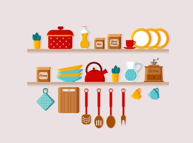 Prateleiras de cozinha e utensílios de cozinha
