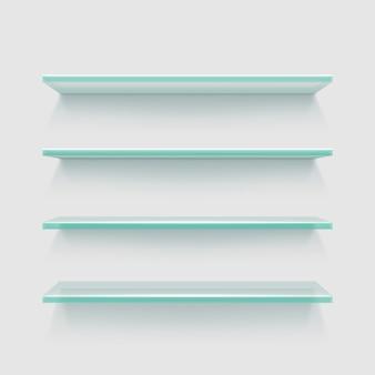 Prateleiras de exposição de loja de vidro claro vazio, exposição do produto de vitrine