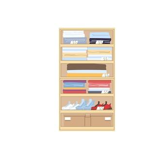 Prateleiras de guarda-roupa planas, roupas e sapatos diferentes com etiquetas de preço, conceito de ilustração vetorial de elementos de interior de loja de roupas