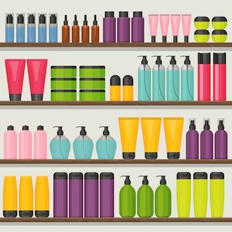 Prateleiras de loja colorida com frascos de cosméticos