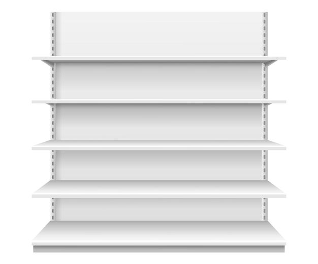 Prateleiras de loja prateleira de supermercado vazia branca modelo realista de vitrine de produto com vista frontal