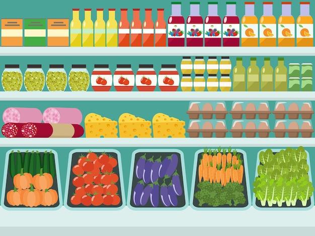Prateleiras de lojas com alimentos e bebidas de mercearia