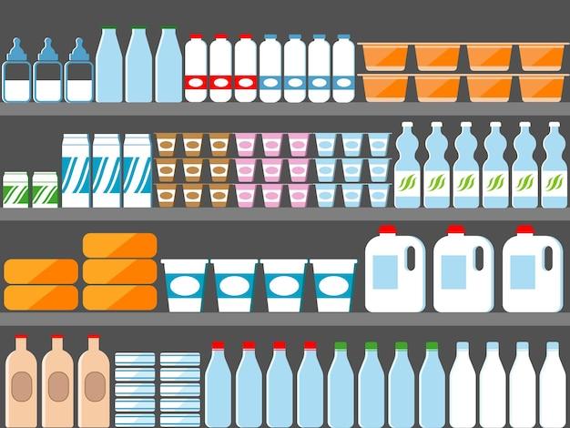 Prateleiras de lojas com ilustração de leite e laticínios