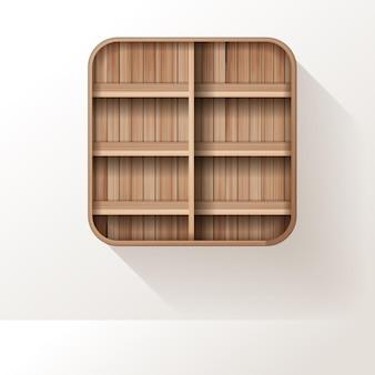 Prateleiras de madeira simulando um design de prateleira vazia no fundo da parede