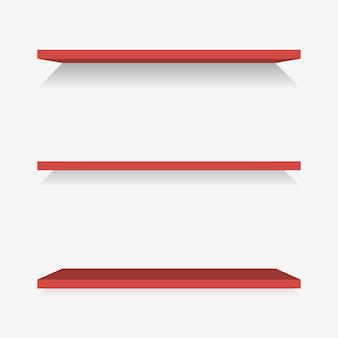 Prateleiras de plástico vermelhas com sombra. ilustração vetorial.