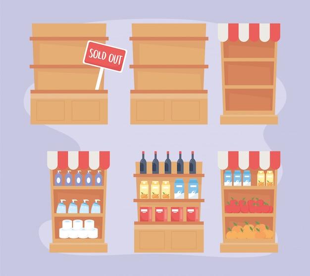 Prateleiras de produtos completos e excesso de compras esgotadas