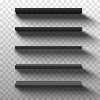 Prateleiras de produtos de loja preta. exibição de vitrine vazia em branco