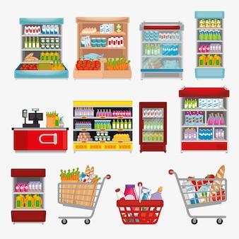 Prateleiras de supermercado com produtos