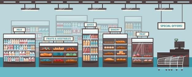Prateleiras de supermercado e caixas de vidro com diversos produtos - leite, frutas, verduras, sucos, padaria, carnes. varejista de alimentos, mercearia ou loja. ilustração colorida em estilo cartoon plana.
