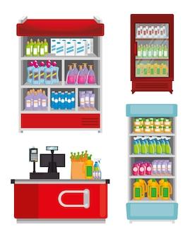 Prateleiras de supermercados com máquina registradora