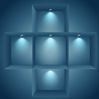 Prateleiras iluminadas na parede