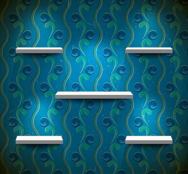 Prateleiras na parede azul suja