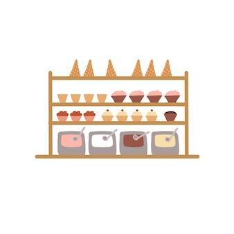 Prateleiras planas dos desenhos animados com confeitos, doces e sorvetes, conceito de ilustração vetorial de elementos de interior de café de confeitaria