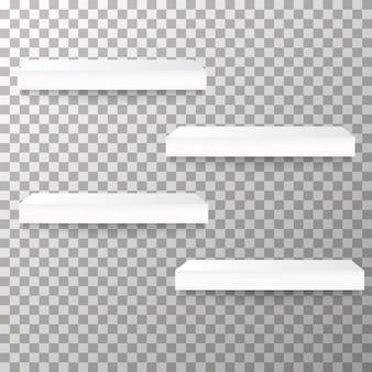 Prateleiras vazias no fundo transparente vector