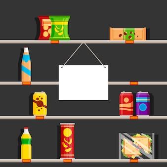 Prateleiras vazias no supermercado durante a pandemia de coronavírus de 2020. armazene o sinal com lugar para texto, ilustração
