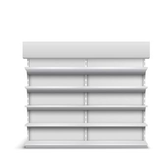 Prateleiras vazias vitrine de supermercado 3d vector realista isolado