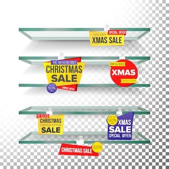 Prateleiras vazias, wobblers da propaganda da venda do natal dos feriados.