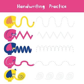 Prática de caligrafia com animais