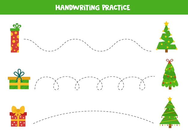 Prática de caligrafia com árvores de natal e caixas de presente. traçando linhas para crianças.