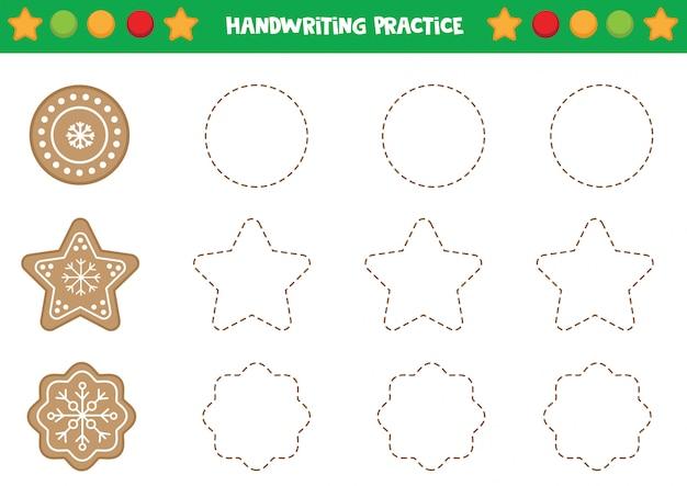 Prática de caligrafia com biscoitos de gengibre.