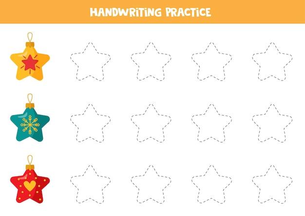 Prática de caligrafia com bolas coloridas de natal