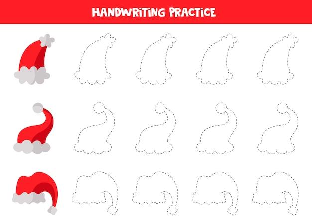 Prática de caligrafia com bonés vermelhos de papai noel dos desenhos animados. traçar contornos.