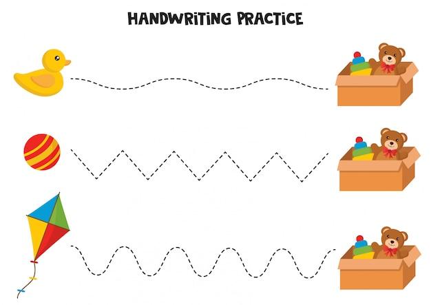 Prática de caligrafia com brinquedos para crianças.
