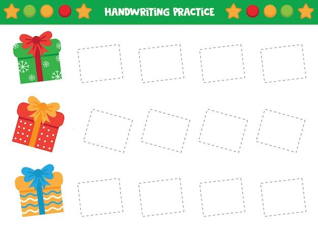 Prática de caligrafia com caixas de presente de natal.